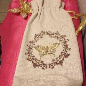 NWOT Pier1 Beverage Bottle Gold Butterfly Gift Bag